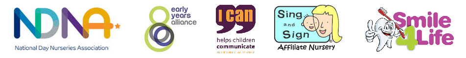 Logos: NDNA, Early Years Alliance, I Can, Sing & Sign, Smile 4 Life